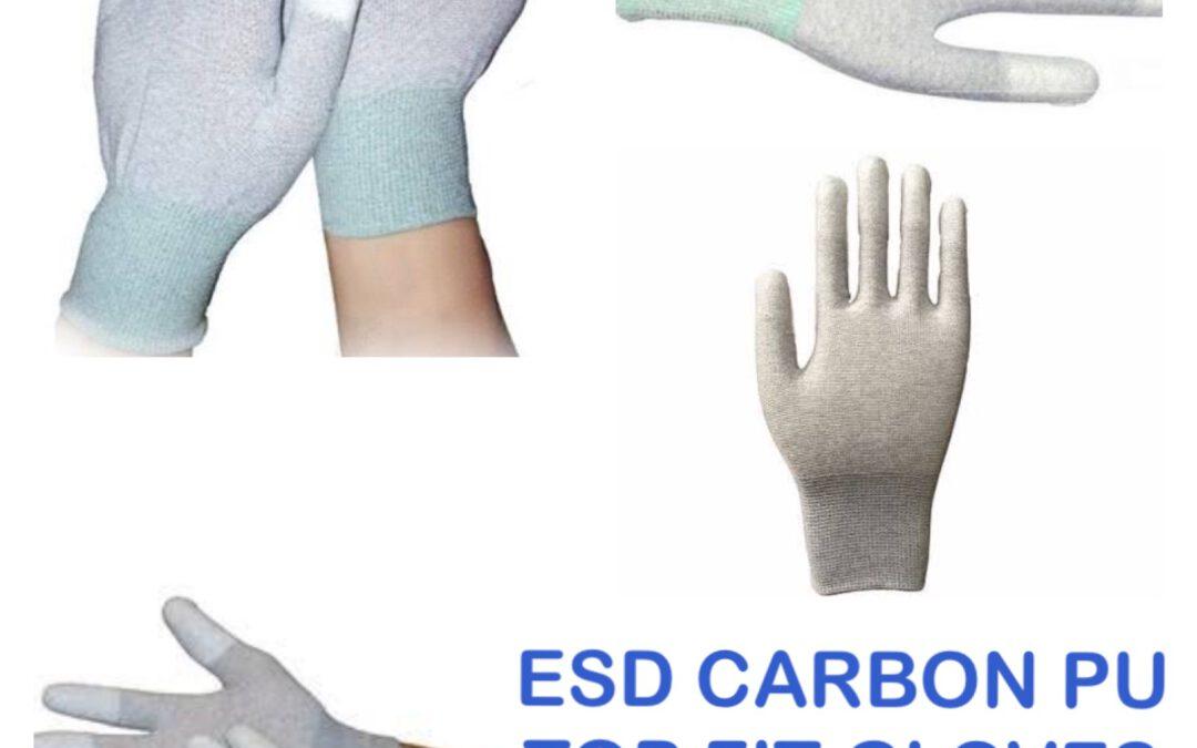 ถุงมือ ESD คาร์บอนไฟเบอร์ พียู เต็มฝ่ามือ ป้องกันไฟฟ้าสถิตย์